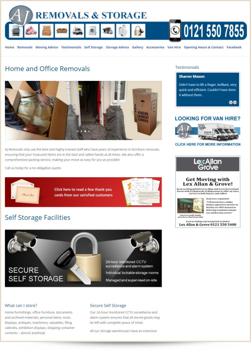 Web Design Example AJ Removals