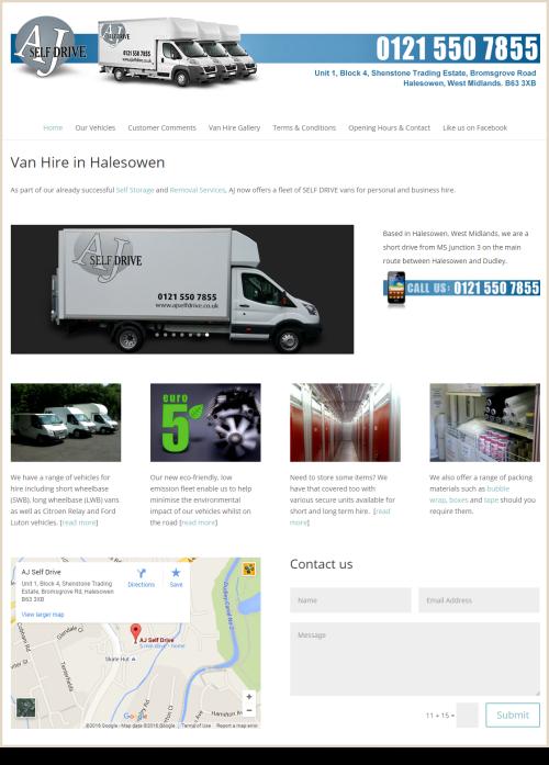 Web Design Example AJ Self Drive