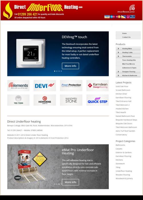 Web Design Example Direct Underfloor Heating