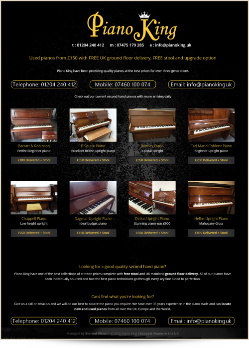 Web Design Example Piano King