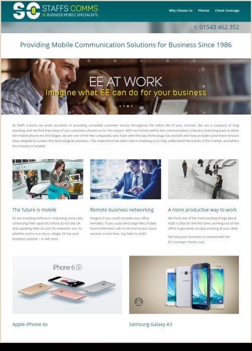 Web Design Example Staffs Comms