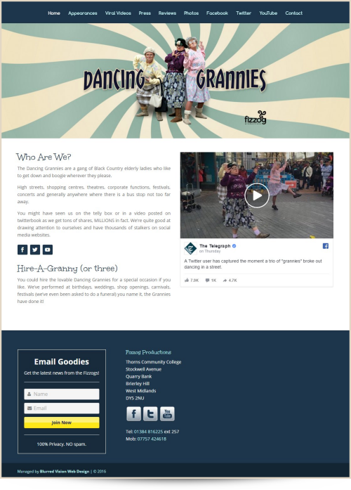 Web Design Example The Dancing Grannies