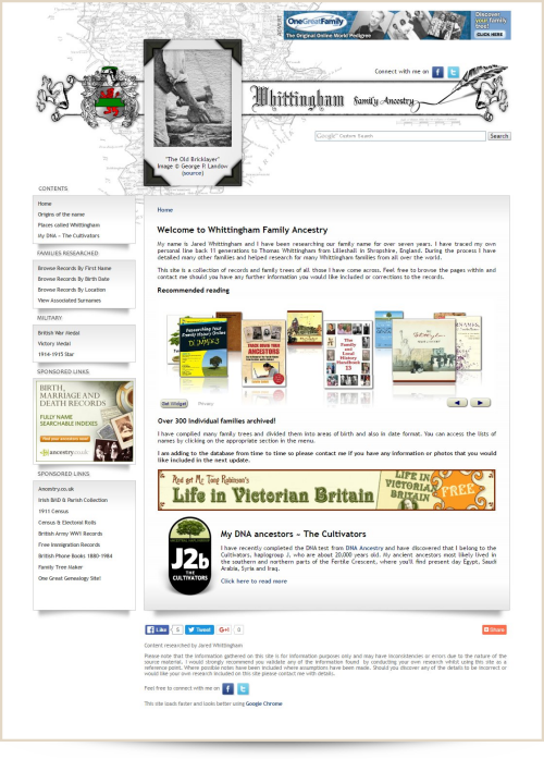 Web Design Example Whittingham Family Ancestry